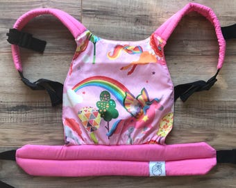 Pink Unicorn Baby Doll Carrier