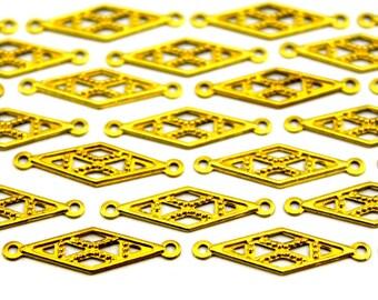 50 pcs 7x25 mm Raw Brass Diamond Charms