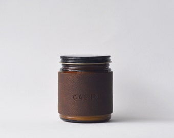 Cabin candle - sandalwood and lavender scented leather wrapped candle