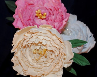 Paper Peony Stem - Medium Paper Flower Peonies - Peonies for Bouquets or Arrangements - Paper Flowers for Weddings, Events, Decor