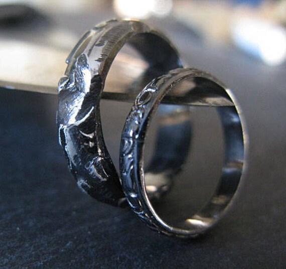 Viking Bands: Black Rhodium Wedding Band Set Viking Ring Rustic Wedding Ring
