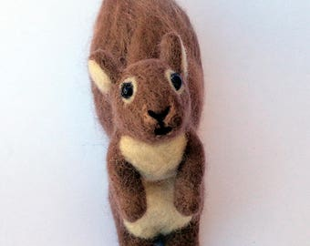 Brown and White Squirrel - Needle Felted Wool Animal - Tree Squirrel - Cute Forest Animal - 3D Wool Pet Soft Sculpture