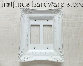 Light Switch Plate Electrical Outlet Plug Cover GFI Shabby Chic White Gold Fancy Framed Rocker Painted Double Gang DESCRIPTION BELOW