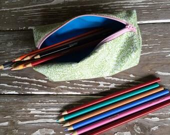 Pencil Case - Green/Blue/Pink zipper