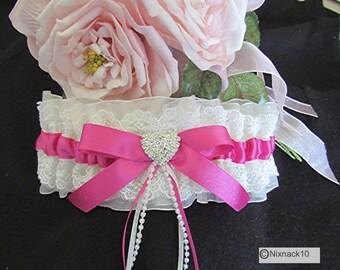 WEDDING GARTER ,IVORY, fuchia , pearls ribbons, diamante heart