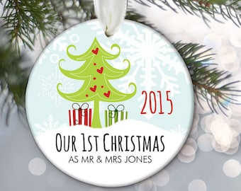 Our 1st Christmas as Mr & Mrs Ornament Personalized Christmas Ornament Newlywed Gift Holiday Ornament Christmas Tree Ornament OR278