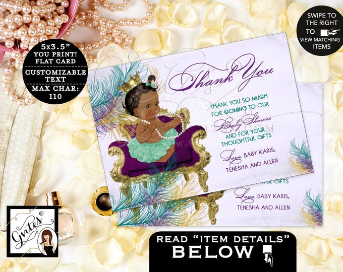 """Peacock Thank You Card Purple and Gold Thank You Cards peacock baby shower, princess, african american, flat 5x3.5"""" 4/Per Sheet"""