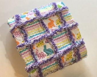 """Easter Bunnies Purple Rag Quilt   32"""" x 40"""""""