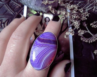 Purple Lace Onyx Ring, Chunky Ring, Pink and Purple Stone Ring, Onyx Ring, Silver Ring, Size 8