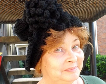 Black Cloche Hat,  Womens Crochet Hat,  Black Womens Hat 1920s,  Black Hat,  Lauren 1920s Cloche Hat,  Flapper Hat,  Crochet Flower