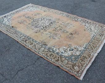 "Turkish Rug, Vintage Handmade Distressed Oushak Rug, Anatolia Wool Decor Rug Carpet, Vintage Decorative  Wool Oushak Area Rug, 115""x69"""