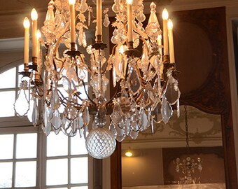 Paris Chandelier Photography, Sparkling Crystal Chandelier Photo, Rodin Museum Chandelier, Romantic Reflection Chandelier Photo, Paris Print