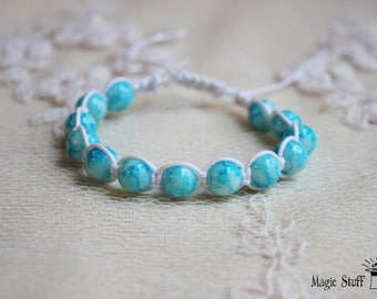 Blue macrame bracelet Sky blue beaded bracelet Adjustable bracelet Friendship bracelet Gift for her Boho bracelet Yoga delicate bracelet