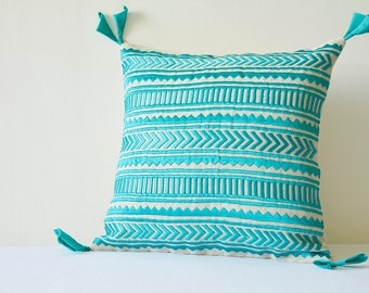 Turquoise Embroidery on Natural Cotton Linen Pillow Cover , Geometric Embroidery in Teal on Ecu Cotton Linen Scatter Cushion , Decor Pillow