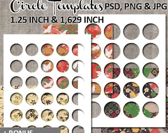 Photoshop circle template / commercial use / 1.25 inch, 1.629 inch round circles blank templates, digital collage sheet / instant download