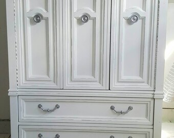 Shabby chic Armoire distressed dresser vintage Armoire