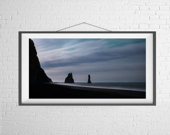 Fine Art Photography Print - Travel, Landscape, Nature, Panorama - Sea Stacks and Ocean - Vik, Iceland
