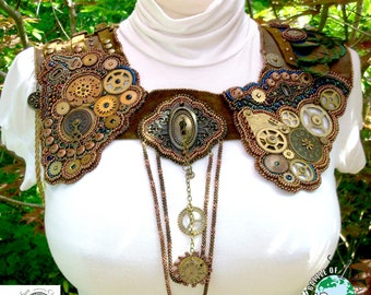 """Clockwork Steampunk Leather Collar Bead Embroidery """"Locked in Time"""""""
