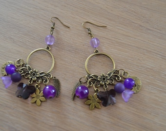 Earrings color bronze and beads