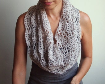 Crochet PATTERN lace loop scarf, women lace cowl, woman caplet, lace shrug, circle scarf, DIY Instant download PDF