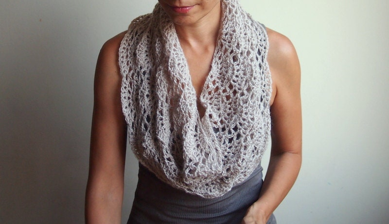 Crochet Pattern Lace Loop Scarf Women Lace Cowl Woman