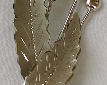 Vintage CC Pin brooch sterling silver, black jet featuring leaves, flower and buds