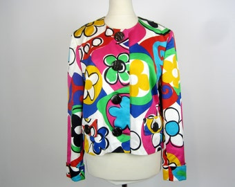 vintage 90's ESCADA Graphic Floral printed cropped cotton jacket S M