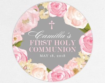 Pink First Communion Stickers, Pink First Communion Labels, Flower Communion Stickers, Girl Communion Stickers, Printed Communion Labels