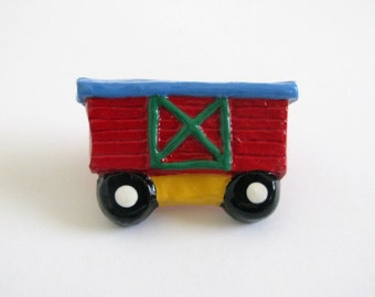 Red Boxcar - Ceramic Drawer Knob