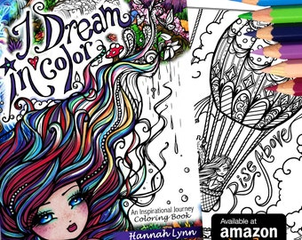 NEW I Dream in Color Inspirational Adult All Ages Fantasy Coloring Pages Book Mermaid Fairy Art by Hannah Lynn