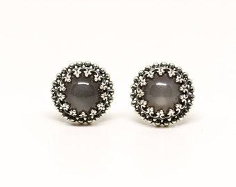 Smokey Moonstone Stud Earrings
