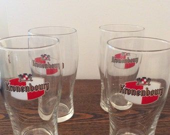 Set of 4 Kronenbourg Pint Beer Glasses