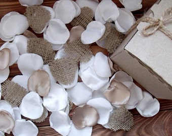 Silk petals Wedding Flower Petals, SATIN and burlap, WHITE and Ivory, Rustic, Wedding Decor, Table Scatter,Silk petals,Flower Girl
