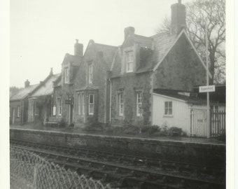 Eggesford Train Station Devon BW photo Platform Station House Railway Square Photo 1960s