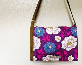 New Purple Floral MESSENGER Diaper Laptop BAG Tote
