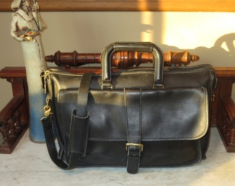Etsy BDay Sale Coach Harrison Multi-Compartment Briefcase In Black Leather U.S.A. Made - Rare Bag -Very Good to Excellent Condition