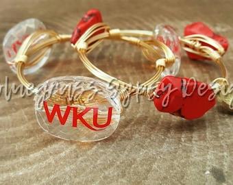 Western Kentucky University Wire Wrapped Bangle set, Bracelet, Bourbon and Boweties Inspired