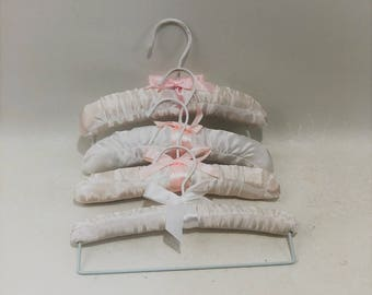 Vintage White and Pink Satin Padded Baby Hangers, Set of 4