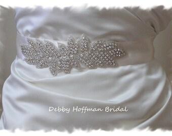 Bridal Sash, Rhinestone Bridal Sash,  Crystal Bridal Belt, Jeweled Wedding Sash, Leaf  Wedding Dress Belt, Wedding Dress Sash, No. 2021S1.5