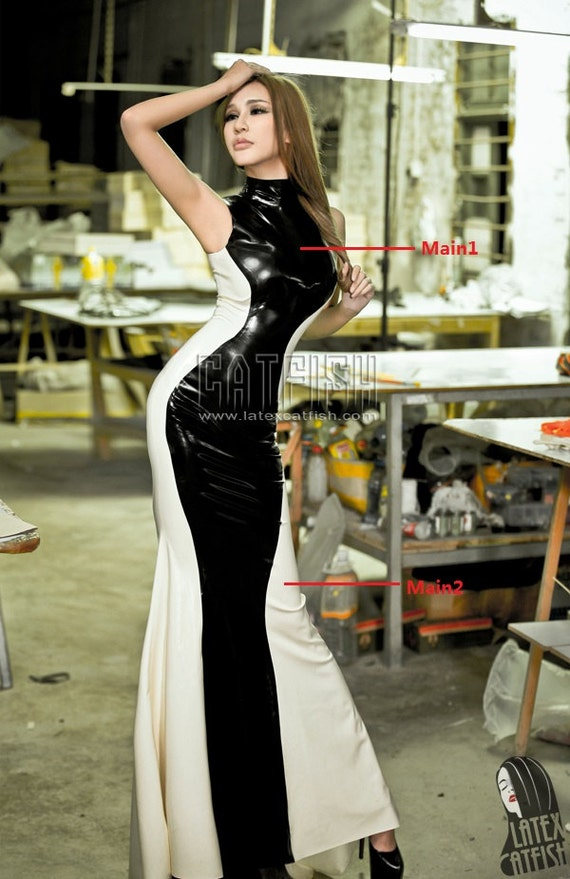 Fashion Lady Latex Evening DressLong Latex Dress