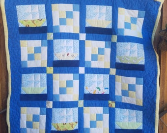 Homemade Quilted Flannel/Minky/Fleece Sail Boat Baby Quilt