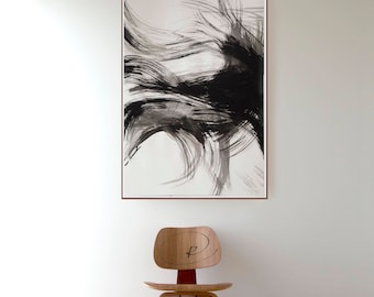 Large abstract art, large wall art,modern ink art, ink art, original abstract art, minimalist art, black and white abstract art, painting