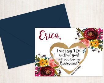 Scratch Off Will you be my Bridesmaid? Card - Maid of Honor, Matron of Honor, Bridesmaid Ask Card Personalized with Metallic Envelope