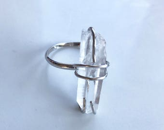Swarovski Crystal and Sterling Silver Ring //