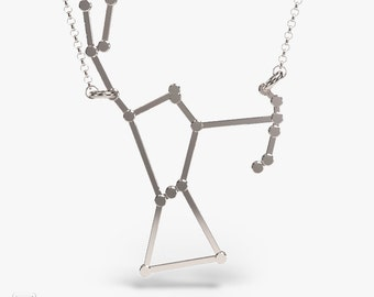 science jewelry: silver Orion necklace - 3D printed constellation pendant - wearable science - scientist - stars