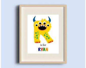 Letter R Art, Custom Monster Letter Art, Nursery Alphabet Art, Alphabet Letter Prints, Letter Art, ABC Wall Art