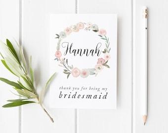 Thank You Bridesmaid Card, Card For Bridesmaid, Pretty Flower Girl Card, Maid Of Honor Card, Wreath Bridesmaid Card, Pretty Bridesmaid Card