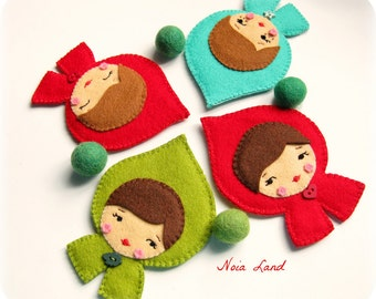 PDF Pattern. Red riding hood and Coraline brooch. Felt brooch pattern.