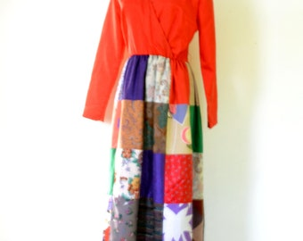 Krist Gudnason Dress Vintage 70s Maxi Boho Patchwork Dress Sz M