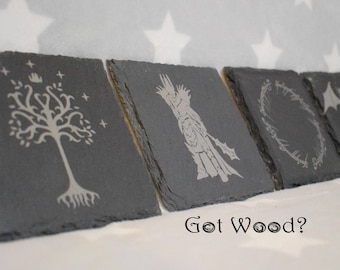 Lord of The Rings Themed Slate Coaster Set - One Ring - The Hobbit - Middle Earth